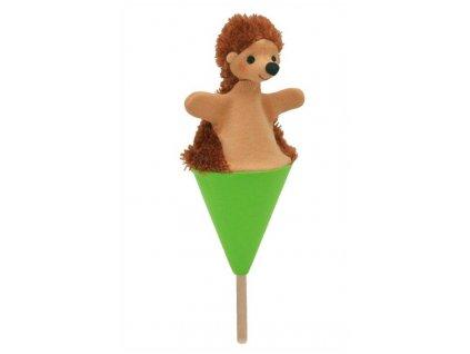 Malý kornoutový maňásek - Ježek - hračka z textilu