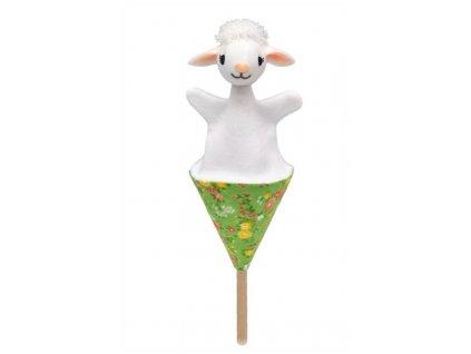 Malý kornoutový maňásek - Ovečka - hračka z textilu