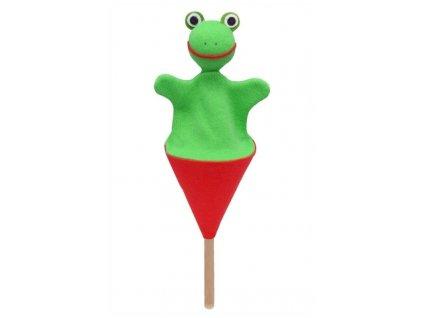 Malý kornoutový maňásek - Žabka - hračka z textilu