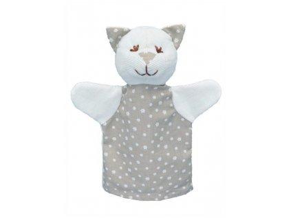 Maňásek pro nejmenší - Kočka kytičky - hračka z textilu