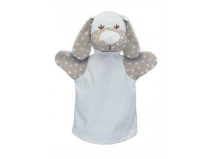 Maňásek pro nejmenší - Pejsek dlouhé uši kytičky - hračka z textilu