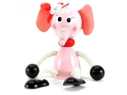 Sedací figurka hračka ze dřeva - Slonice