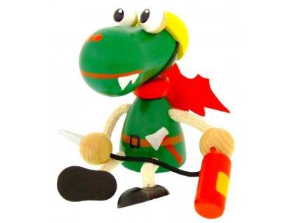 Sedací figurka hračka ze dřeva - Hasič dráček