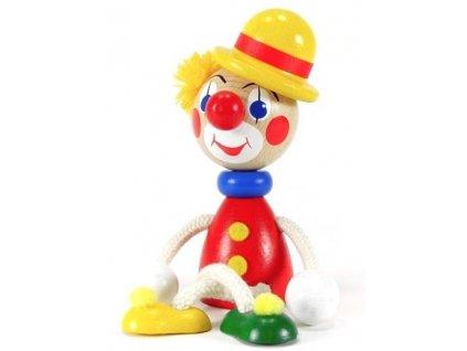 Sedací figurka hračka ze dřeva - Klaun se žlutou buřinkou