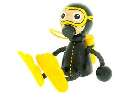 Sedací figurka hračka ze dřeva - Potápěč