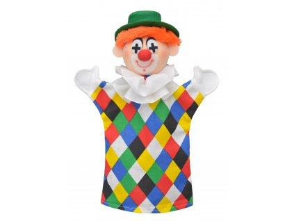 KLAUN - textilní maňásek na ruku 28cm. Česká hračka certifikovaná pro děti od 3 let.