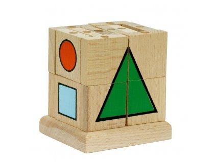 66007 didaktická dřevěná kostka geometrické tvary (1)