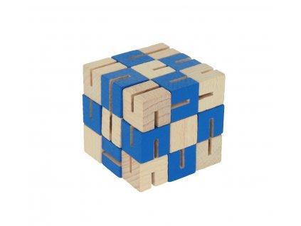 dřevěný hlavolam modrý