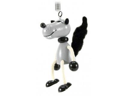 40298 (5) figurka na pruzine ze dreva vlk pro deti