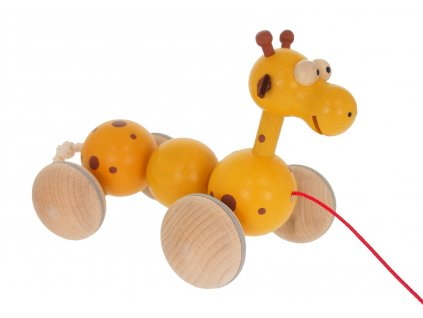68109 kvalitní dřevěná tahací hračka žirafa