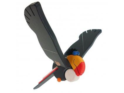 68123. dřevěný tukan dětská pohyblivá dekorace