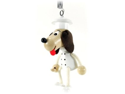 50224 (3) drevena figurka na pruzine kuchar pes pro deti
