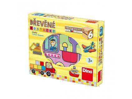 DOPRAVNÍ PROSTŘEDKY - dřevěné kostky 6 dílů. Geniální, jednoduchá, nadčasová, prostě všemi dětmi milovaná česká hračka.
