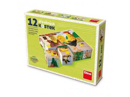 DOMÁCÍ ZVÍŘÁTKA - dřevěné kostky 12 dílů. Geniální, jednoduchá, nadčasová, prostě všemi dětmi milovaná česká hračka.