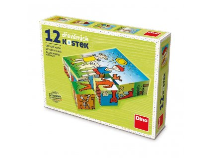 PEJSEK A KOČIČKA - dřevěné kostky 12 dílů. Geniální, jednoduchá, nadčasová, prostě všemi dětmi milovaná česká hračka.