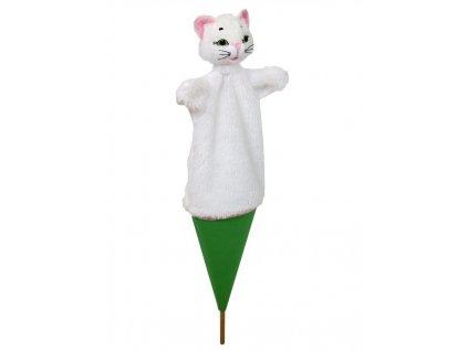 Velký kornoutový maňásek Kočka - hračka z textilu