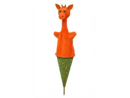 Velký kornoutový maňásek Žirafa - hračka z textilu