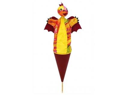 Velký kornoutový maňásek Drak vínový - hračka z textilu