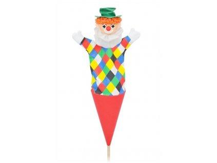 Velký kornoutový maňásek Klaun - hračka z textilu