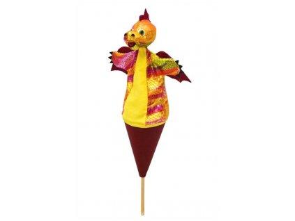 Střední kornoutový maňásek Drak vínový - hračka z textilu