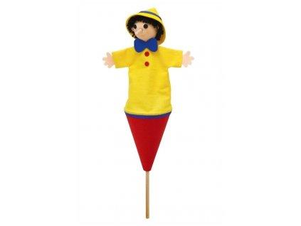 Střední kornoutový maňásek Kluk s dlouhým nosem - hračka z textilu