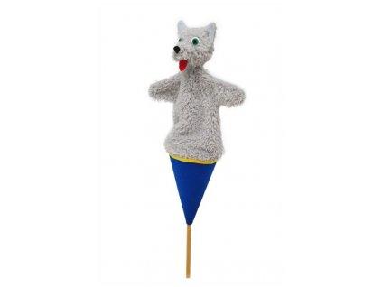 Střední kornoutový maňásek Vlk - hračka z textilu