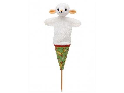 Střední kornoutový maňásek Ovečka - hračka z textilu