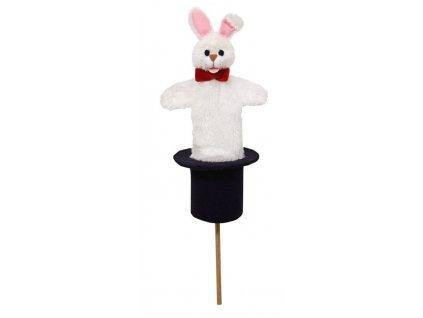 Střední kornoutový maňásek Králík v klobouku - hračka z textilu