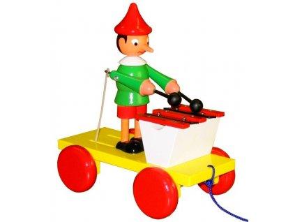 Tahací Pinochio s xylofonem hračka ze dřeva - barevný
