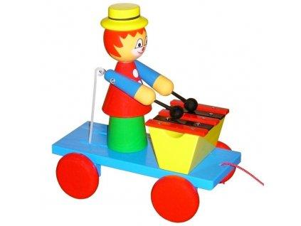 Tahací Šašek s xylofonem hračka ze dřeva - barevný