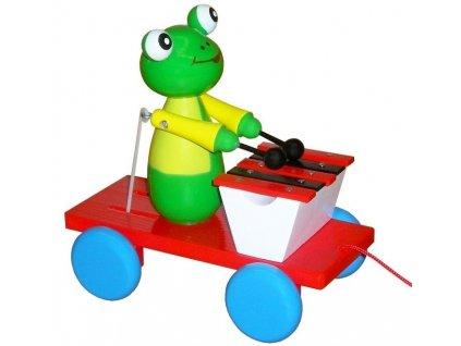 Tahací Žabka s xylofonem hračka ze dřeva - barevná