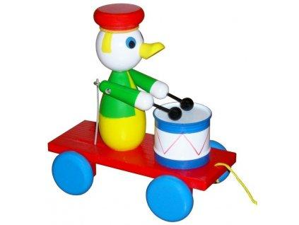 Tahací Kačer s bubnem hračka ze dřeva - barevný