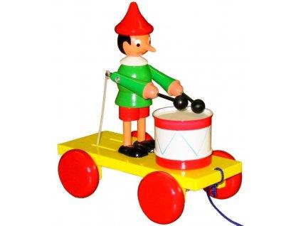 Tahací Pinochio s bubnem hračka ze dřeva - barevný