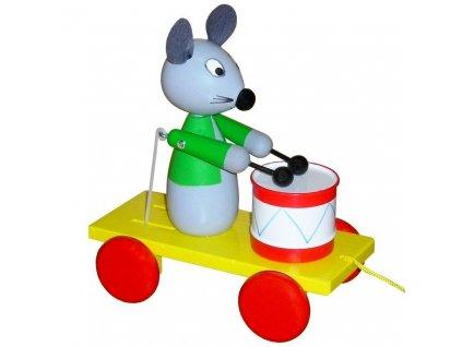 Tahací Myška s bubnem hračka ze dřeva - barevná