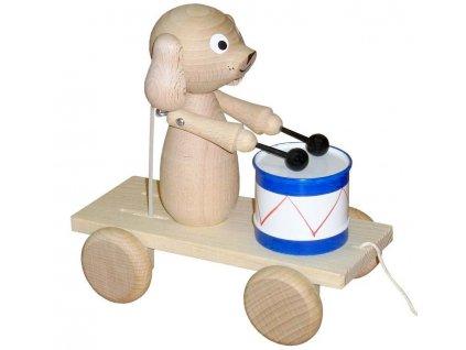 Tahací Pes s bubnem hračka ze dřeva - natur