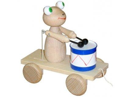 Tahací Žabka s bubnem hračka ze dřeva - natur