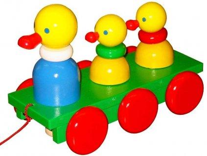 Tahací tři Kačenky hračka ze dřeva - barevné