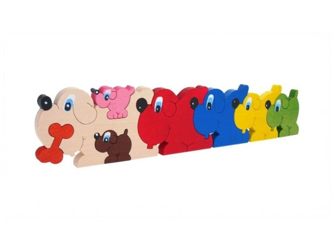 Puzzle -hračka ze dřeva Psi 8 ks