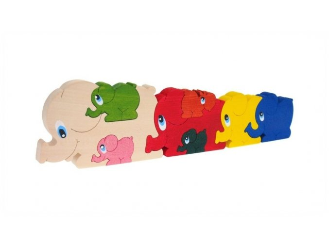 Puzzle -hračka ze dřeva Sloni 8 ks