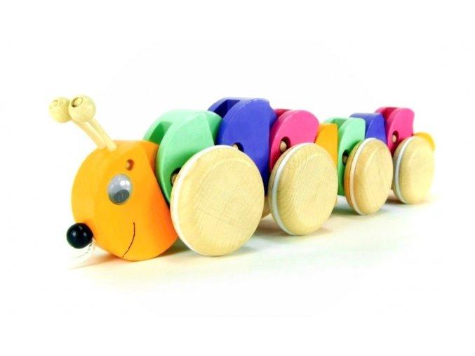 Tahací housenka hračka ze dřeva Ada