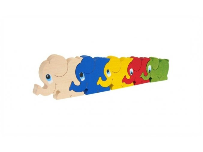 Puzzle -hračka ze dřeva Sloni 5 ks