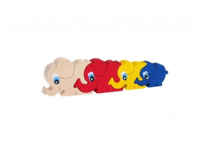 Puzzle -hračka ze dřeva Sloni 4 ks