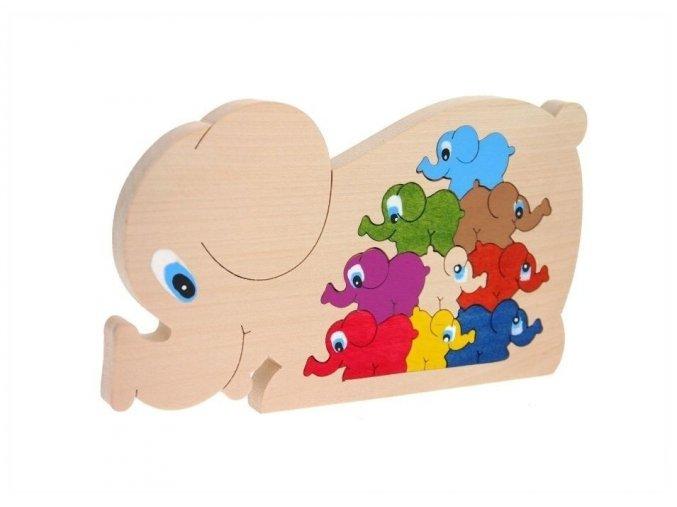 Puzzle -hračka ze dřeva Slon 10 ks
