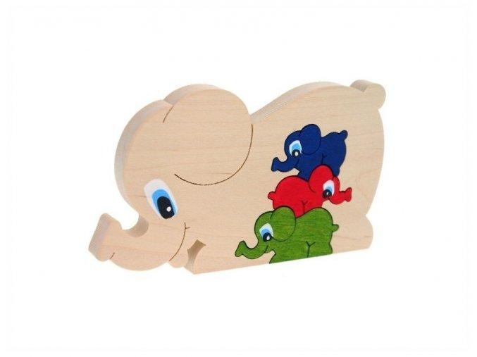 Puzzle -hračka ze dřeva Slon 4 ks