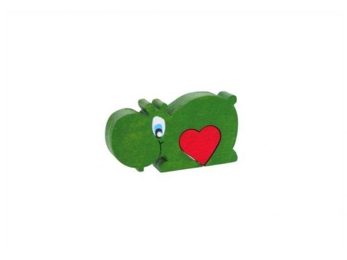 Puzzle se srdíčkem hračka ze dřeva - Hroch