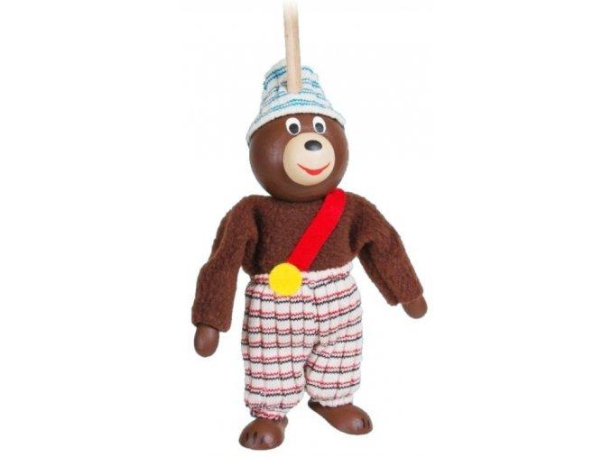 Loutka na tyči hračka ze dřeva - medvěd