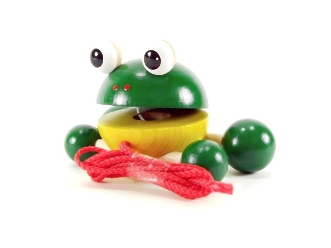 Žabka na kolečkách hračka ze dřeva Ruby