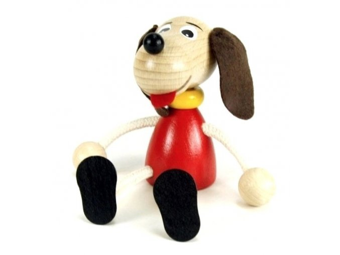 Sedací figurka hračka ze dřeva - Pes