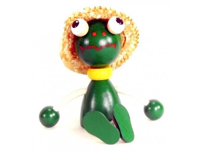 Sedací figurka hračka ze dřeva - Žába