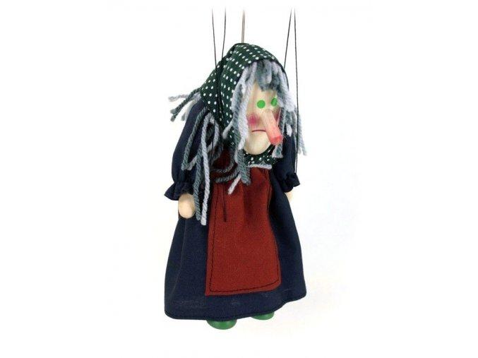 Dřevěná loutka - hračka ze dřeva - Ježibaba hrbatá